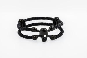 Totenkopf-Armband-Rochenleder